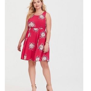 Torrid Pink Floral Bow-Tie Back Dress size 2x